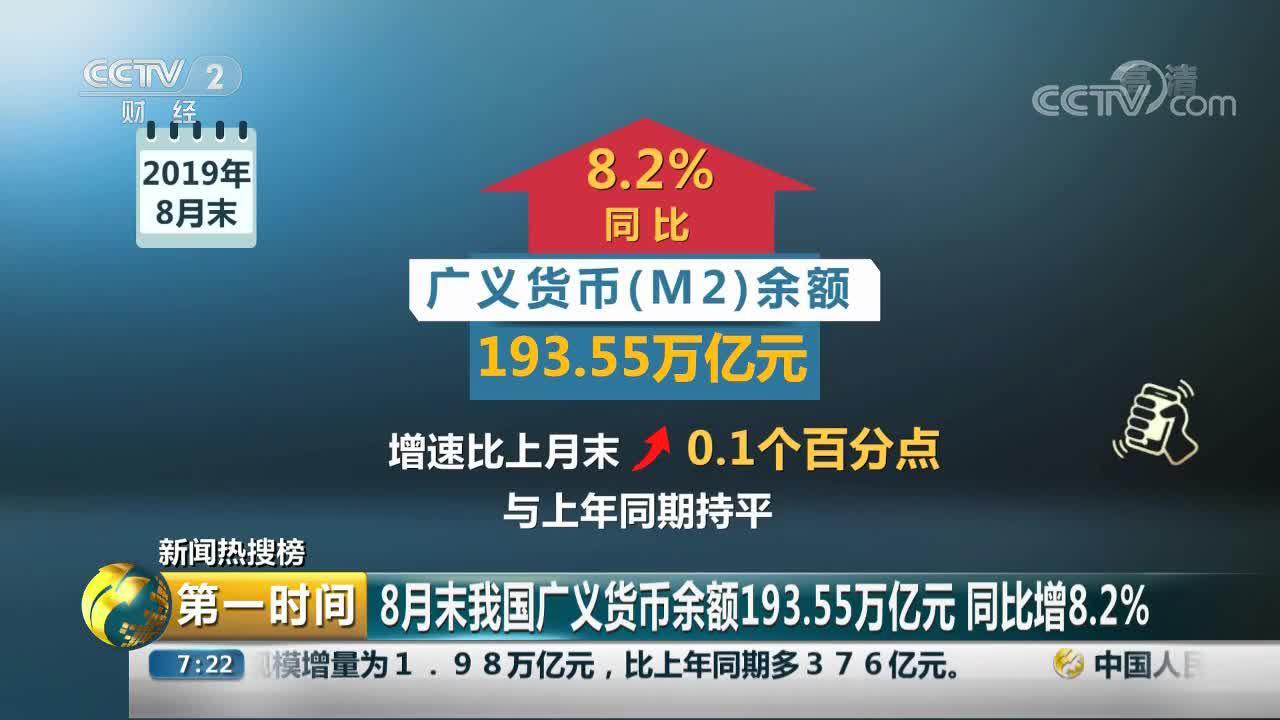 8月末我国广义货币余额193.55万亿元 专家:结构改善 总体平稳