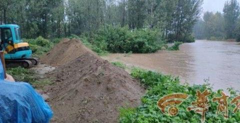 周至县渭中村沙河决堤淹了猕猴桃地 村民正组织自救
