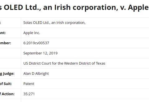 苹果又陷专利泥潭 遭Solas OLED起诉