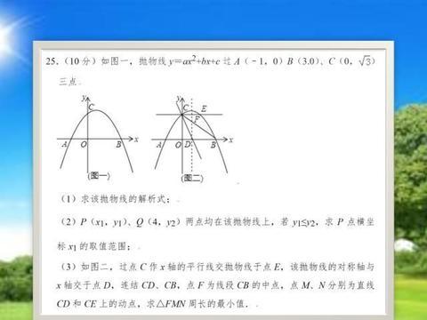 中考数学压轴题,动点形成的三角形周长最小值,解题的关键是这
