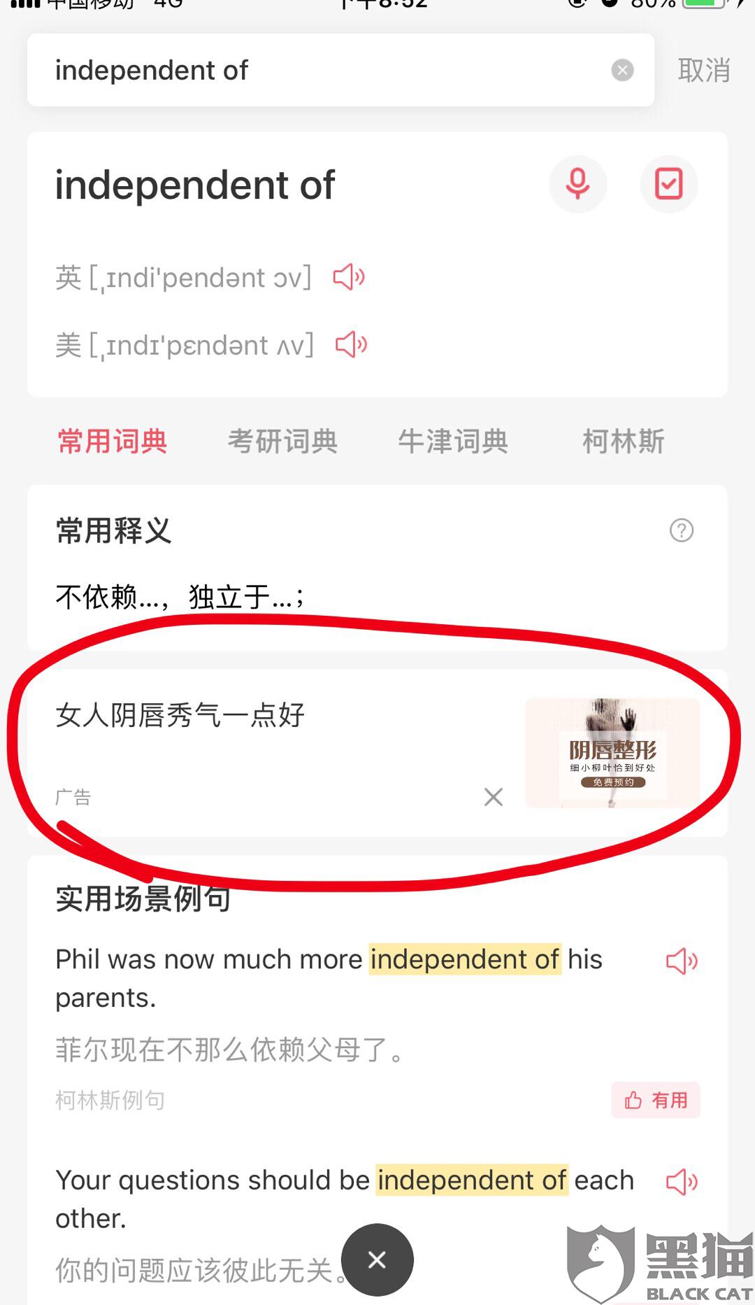 黑猫投诉:金山词霸app广告涉及淫秽色情