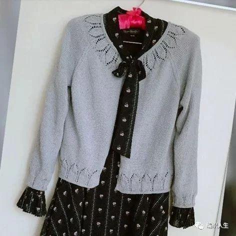 喵夫人谷雨:浅灰女士棒针插肩长袖短开衫(附图解)