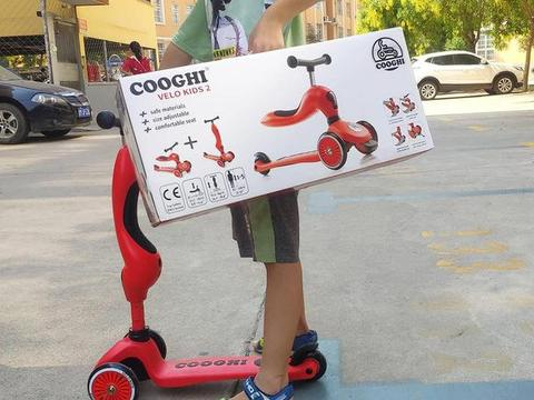 适合2岁+7岁孩子玩耍的童车-酷骑V2二合一儿童滑板车初体验