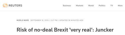 """欧盟委员会主席容克警告:英国""""无协议脱欧""""的风险很真实"""