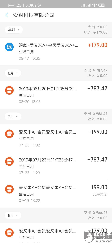 黑猫投诉:爱又米在app内诱导消费者购买其A+会员,不予退款
