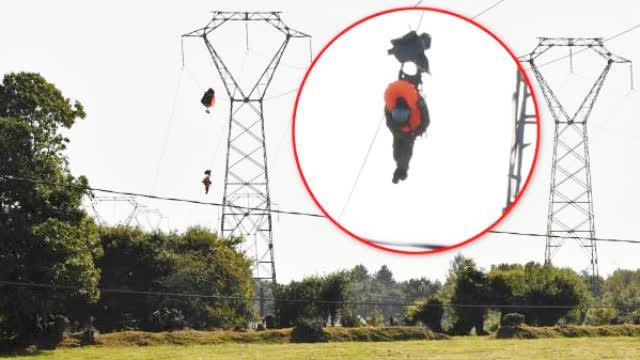 视频|比利时战机法国坠毁 飞行员跳伞后被挂在电线上
