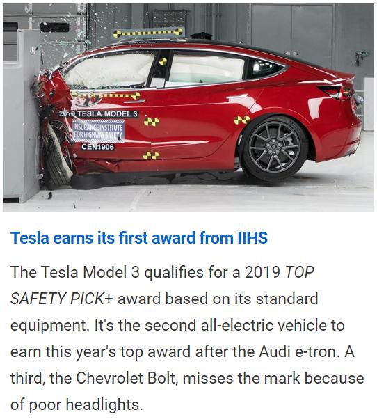 "Model 3获得美国高速公路安全保险协会""最佳安全车型精选+"""
