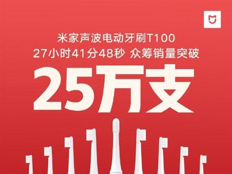 米家声波电动牙刷T100众筹破25万支 超8.5万人购买