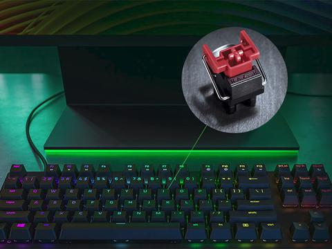 雷蛇推猎魂光蛛竞技版游戏机械键盘:TKL+光轴,卖1199元