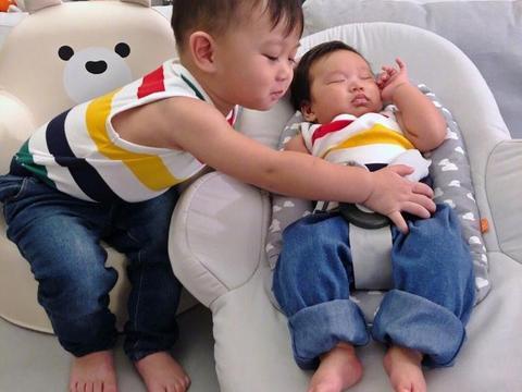 胡杏儿晒两个儿子合照,大儿子从不吃醋帮忙照顾弟弟,十分有爱