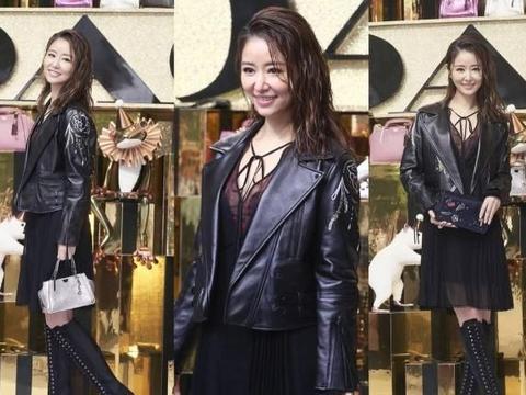 林心如同款穿搭:黑色皮衣+纱裙的混搭,不小心又美成紫薇格格!