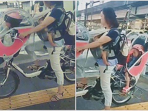 日本妈妈带三个娃出门,有知道这坐骑的吗?