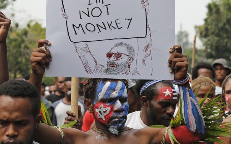 """示威者手持""""我不是猴子""""的标语 图自大马邮报"""