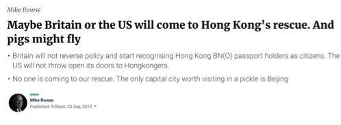 英裔前港府高官:英美或会救香港 就如猪可能会飞