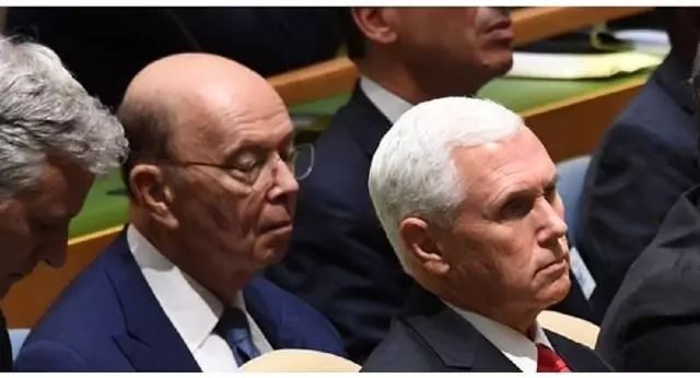 特朗普联大讲话现场 美国商务部长疑似睡着(图)