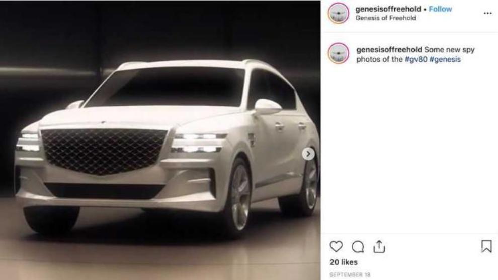 大尺寸盾形格栅/洛杉矶车展亮相 Gensis GV80无伪谍照曝光