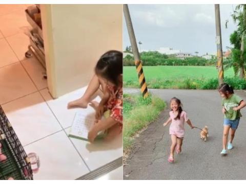 4岁女儿超怕狗!迷你柴回家后,她坐笼前念弟子规当床边故事