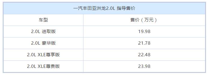 丰田亚洲龙2.0L上市,四款均为汽油版,起售价降至19.98万元