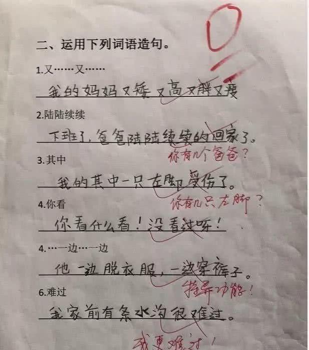 小学生奇葩作文,他的一生真的是太短了哈哈