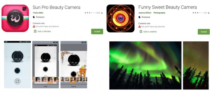 谷歌从其商店中删除了2个自拍相机应用程序 内含恶意广告软件