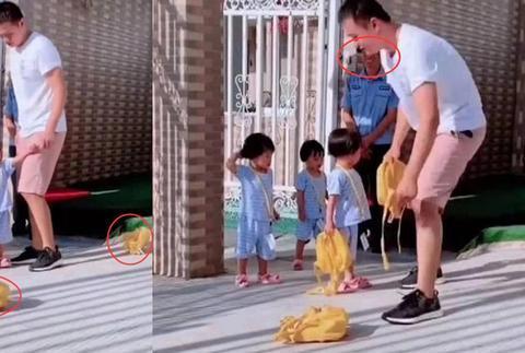 爸爸幼儿园接孩子迟到,3胞胎女儿大发雷霆,保安大哥都忍不住笑