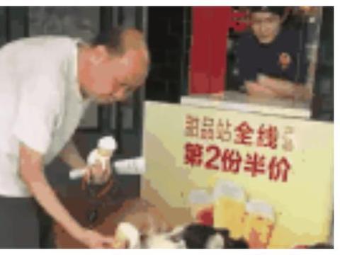 老爷爷带金毛二哈吃冰淇淋,暖暖一幕好感动