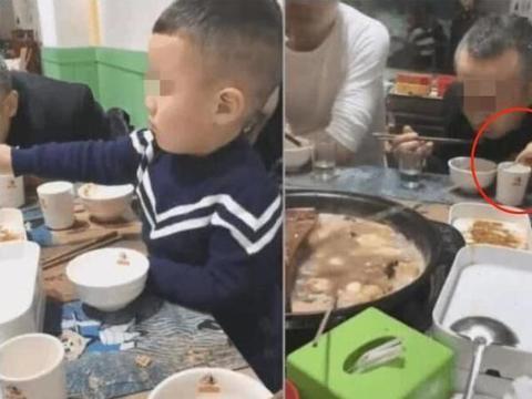 男孩餐桌上捣乱烫到别人,妈妈几次教育不管用
