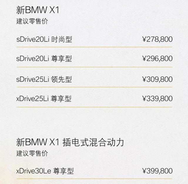 新款宝马X1正式上市,售价27.88万起,网友:小号X3