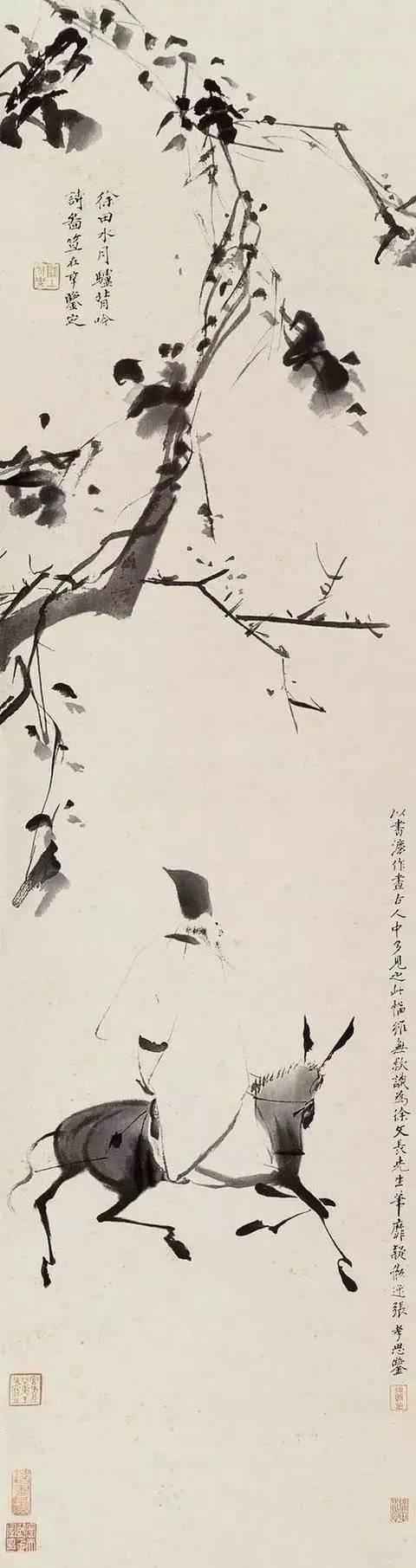 明·徐渭《驴背吟诗图》轴高清鉴赏