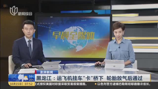 """澎湃新闻:黑龙江——运飞机挂车""""卡""""桥下  轮胎放气后通过"""