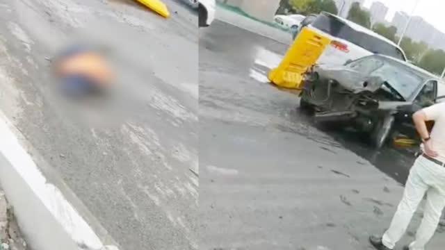 南京江北大道发生一起车祸,致2人死亡