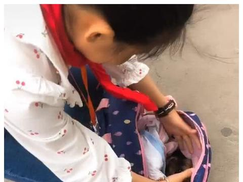小学生捡到一只流浪狗,装在书包拿回家,奶狗乖巧惹人爱