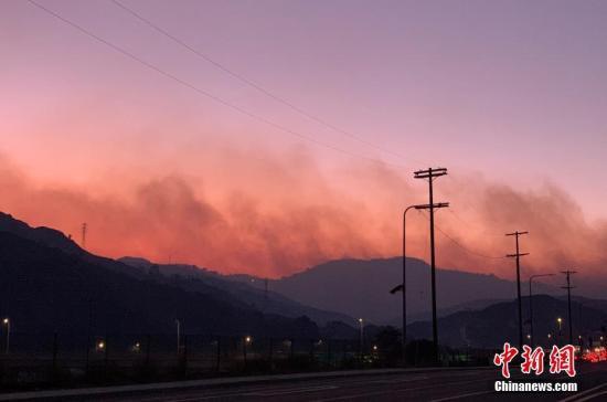 当地时间10月10日晚9时许,地处洛杉矶市北部的希尔玛市有灌木丛起火。 中新社记者 张朔 摄