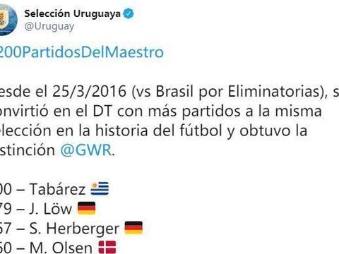 塔瓦雷斯执教乌拉圭达200场,成历史第一人