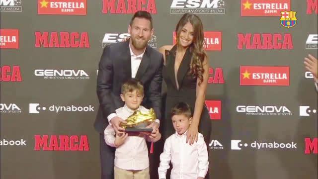 正值西甲首秀十五周年之际,梅西领取了个人第六座欧洲金靴奖