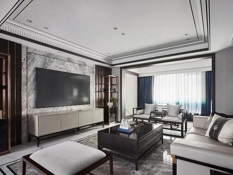 190㎡中式复式,卧室装折叠屏风背景墙,最忆古风诗画