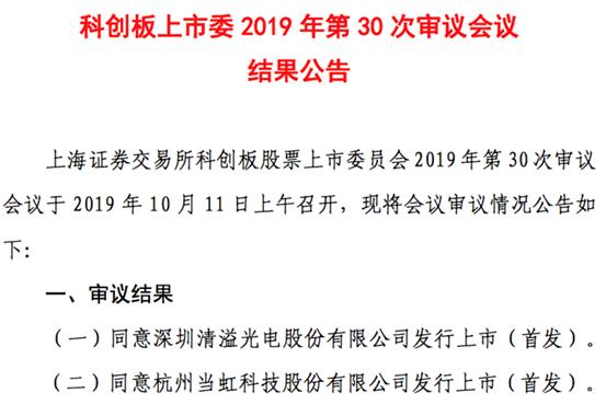 中芯国际/京东方供应商清溢光电科创板IPO过会!