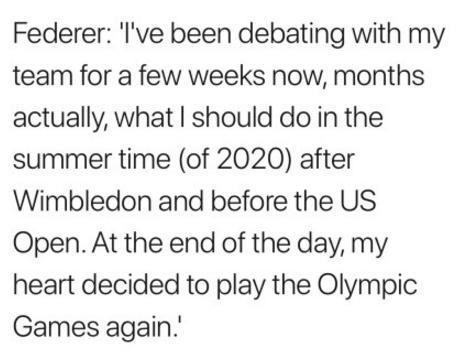 费德勒将参加东京奥运会,曾获1金1银,有望第3次当旗手