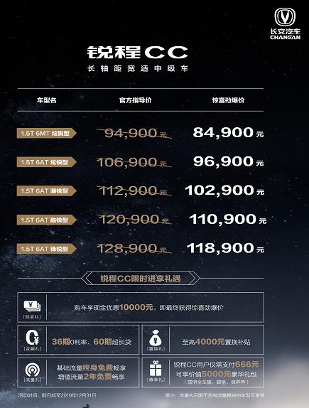 定标A+级市场盼破局,长安锐程CC上市9.49万起