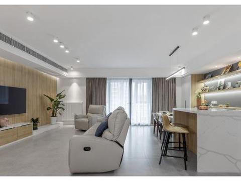 115平米三居室的现代风格案例,只花25万!-奥克斯金宸玖和府装修