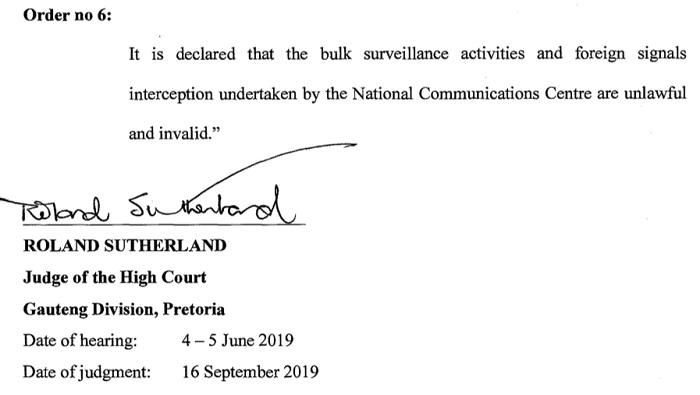 南非高等法院裁定通讯拦截和战略情报法案侵犯了隐私权