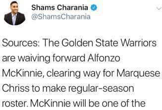 Shams:勇士将裁掉麦金尼,为克里斯腾出名额