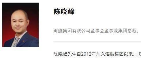 海航集团董事长陈峰之子陈晓峰出任集团总裁(图)