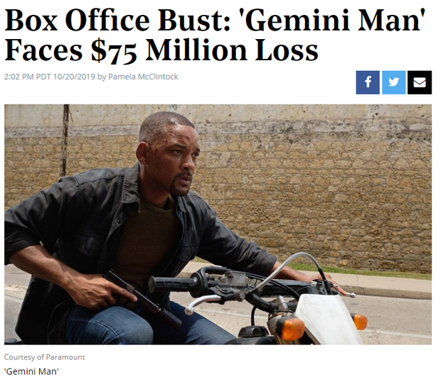 双子杀手全球票房票房遇冷,预计损失5.3亿元