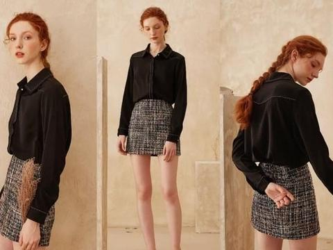 黑色衬衫+裙子,春季这样搭超流行显瘦!