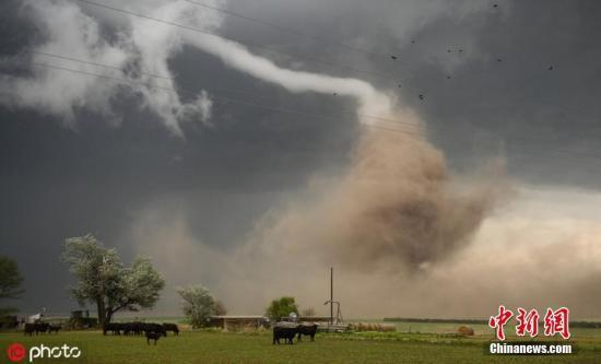 材料图:庞大的龙卷风自地面卷席而下,曲捣空中。 图片滥觞:ICphoto
