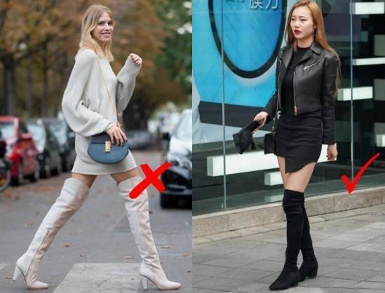 155cm以下的女人穿长筒靴时,想要显高,不妨听听这3个建议!