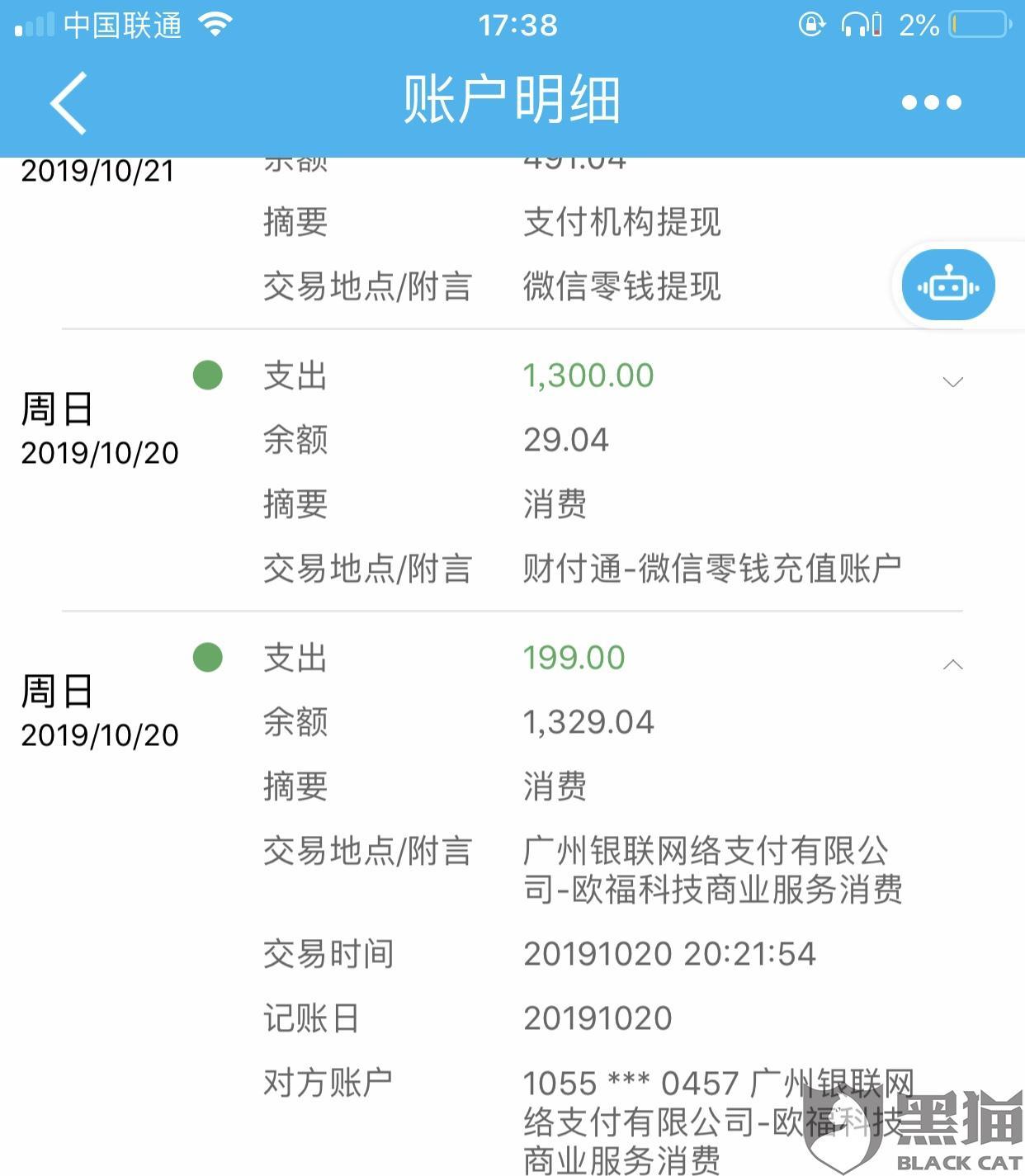 黑猫投诉:有钱花呗app未经许可擅自从我卡上扣取199元