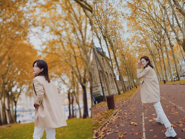 秦岚漫步郊外写真照太清新优雅了,变成秋日里最美的一道风景