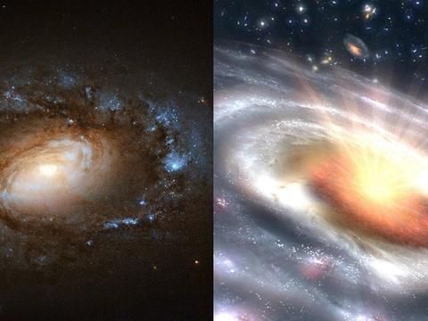 科学家观察到了六个星系突然向类星体喷发的奇景
